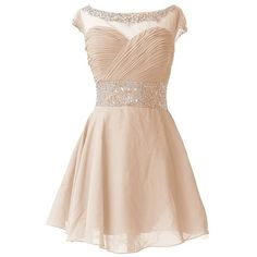 QUEENSROYAL Chiffon Short Sparkling Cap Sleeves Homecoming Party Dress ($130) ❤ liked on Polyvore featuring dresses, sparkly homecoming dresses, pink chiffon dress, pink dress, cap sleeve homecoming dresses and sparkly cocktail dresses