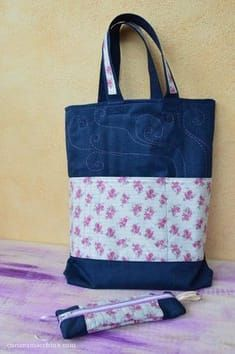 Free tutorial to learn how to sew a handy denim bag to use as a school bookshelf, with matching bag. Denim Bag, Denim Jeans, Diy Handbag, Fabric Bags, Learn To Sew, Sewing Patterns Free, Diaper Bag, Reusable Tote Bags, Wallet