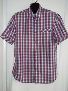 James Campbell Plaid Multi Color Short Sleeve Button Front Shirt Size: XL #Campbell #ButtonFront
