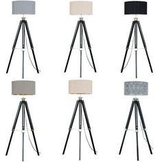 Black Floor Lamp, Led Floor Lamp, Modern Floor Lamps, Grey Kitchens, Ceiling Pendant, Tripod Lamp, Fabric Shades, Black Wood, Light Shades