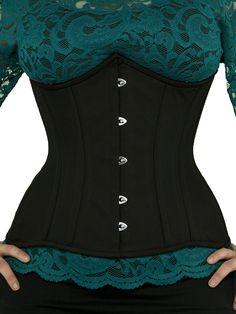 b82e8570f7 cs 426 black cotton waist training corset front Underbust Corset