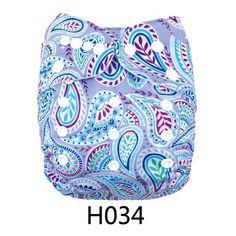 New Printed ALVA Reusable Onesize Washable Baby Cloth Diaper Nappy +1Insert H034 #ALVA #AIOsize