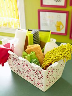 Corral laundry or cleaning supplies in cute baskets, it'll make you want to use them more often, maybe :)