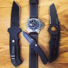 To much for every day carry?? #Panerai #PAM305 #Submersible @Gerber Gear #edc #Tanto #Tactical #OCWatchCompany #WatchStore #WalnutCreek  (at OC Watch Company)