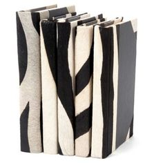 Check out this item at One Kings Lane! S/5 Hair-on Leather Books, Zebra