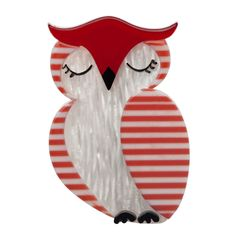 Limited edition, original Erstwilder Snoozing Owl Brooch in red. Designed by Louisa Camille Melbourne. Buy now Owl Jewelry, Animal Jewelry, Resin Jewelry, Jewellery, Red Owl, Bird Design, Bird Art, Blue Bird, Needlework