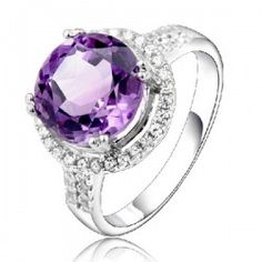 Natural Purple Crystal And AAA Cubic Zirconia Inlaid 925 Sterling Silver Ring