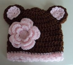 knit hat with ears and flower