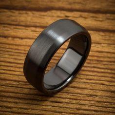 Classic Beveled Black Zirconium Ring