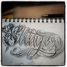 """Ink Slinger"" #lettering #script #calligraphy #letterdesign #calligraffiti #pencil #writing #drawing #handstyle #letters #letter #tattoo #tattoosketch #tattoodesign #letterheads #scripttattoo #handlettering #letteringdesign #타투 #타투도안 #레터링타투 #레터링 #글 #그림 #캘리그라피 #치카노레터링 #치카노 #치카노타투"