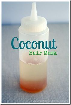 DIY Coconut Oil Hair Treatment | 1/4 cup coconut oil, 1 tsp honey, plastic squeeze bottle, and shower cap. Warm up and leave on hair for 10-15 min, rinse shampoo as usual. Easy!