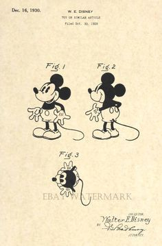 Official Mickey Mouse 1930 US Patent Art Print - Vintage Walt Disney - Antique 9 #patentartprints