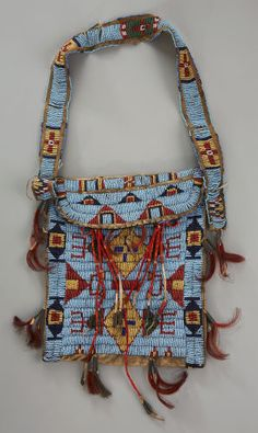 American Indian Art:Beadwork and Quillwork, A SIOUX BEADED HIDE SIDE BAG. c. 1890...