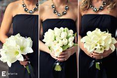 white bridesmaids bouquets, tulip bouquet, callalily bouquet