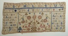 Sampler worked by Maria Hulett in 1843. The text is from Proverbs 15:13:
