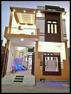 front elevation designs for duplex houses in india 2bhk House Plan, 3d House Plans, Indian House Plans, Duplex House Plans, House Main Door Design, Bungalow House Design, Front Elevation Designs, House Elevation, 20x30 House Plans