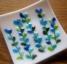Fused Glass Plate, Blooming Branches in Blue and Turquoise on White on Etsy, $32.00