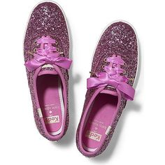 Keds x kate spade new york Champion Glitter ($80) ❤ liked on Polyvore featuring shoes, sneakers, carousel pink, sparkle sneakers, keds shoes, pink shoes, pink glitter sneakers and striped shoes