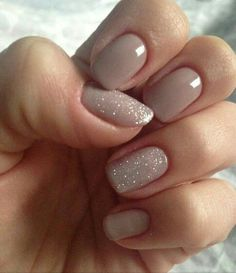 Nude Nails with Two Glittery Nails - Very pretty and subtle