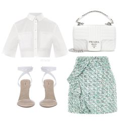 These emerald green blends in eight the white colour scheme to be uplifting and refreshing, like like a clear day at the beach. Kpop Fashion Outfits, Mode Outfits, Girly Outfits, Cute Casual Outfits, Stylish Outfits, School Outfits, Vintage Outfits, Fashion Dresses, Looks Chic
