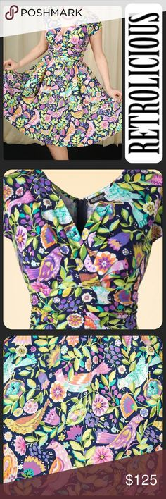 Retrolicious Painted Paradise Greta Dress 1X XXL Black background with an all over print of tropical flowers and birds in shades of purple, yellow, green, orange, turquoise and white.  Full A-line cut  Ruched gathered waist V-neckline with gathered details Cap sleeves,  Side hidden pockets  Center back zippered closure 100% Cotton  Size 1X (equivalent to XXL) Please note there is no stretch to the fabric therefore please review measurements below to ensure fit. Brand new excellent /unworn…
