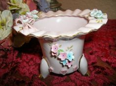 Vanity Table Dish Porcelain Powder Pot Vintage Footed Dish Pink Blue Flowers Gold Gilt Butterfly Ruffled Edge Antique