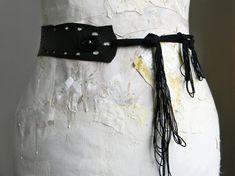 Black Leather Belt Goth Belt Sash Sexy Waist Belt by Elyseeart