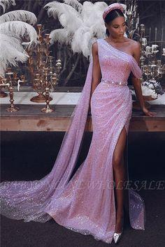 lol 2 Sparkly One-Shoulder Slit Pailletten Abendkleid Sequin Evening Dresses, Evening Dresses Online, Gala Dresses, Event Dresses, Formal Dresses, Dress Online, Pink Evening Dress, Long Evening Gowns, Prom Dresses Slay