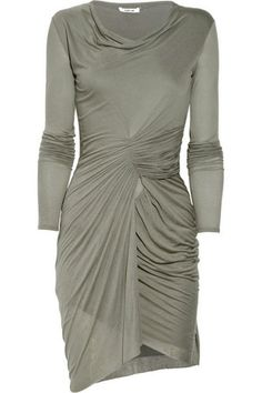 Helmut Lang ruched jersey dress in grey
