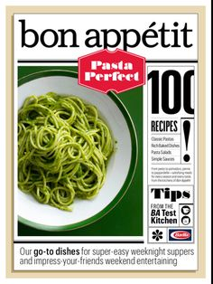lovely ui (typography on Bon Appetit: Pasta Perfect)