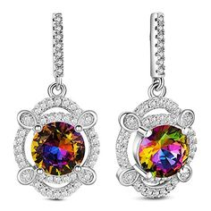 925 Sterling Silver Dangle Stud Earrings, Micro Pave Cubic Zirconia, Clover with AAA Cubic Zirconia, Colorful, 27x13mm