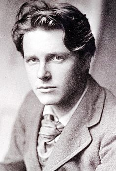"Rupert Chawner Brooke - 3.8.1887 - 23.4.1915. English poet, and quoted by Irish poet Yeats as the ""handsomest man in England."" Died en route to Gallipoli in WWI from an infected mosquito bite. ""If I should die, think only this of me. That there's some corner of a foreign field, that is forever England."""