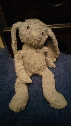 """Found on 19 Dec. 2015 @ Westminster Square, London, UK. Grey furry bunny found - has a name written on the label, which looks like """"Lou Daverno"""". Bottoms of ears are a bit ragged and discoloured. Visit: https://whiteboomerang.com/lostteddy/msg/vt8m7w (Posted by Annie on 29 Dec. 2015)"""