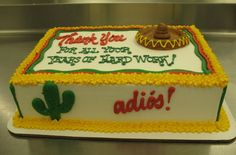 Thank You Sheet Cake by Stephanie Dillon, Hy-Vee Going Away Cakes, Cakes By Stephanie, Cake Decorating, Decorating Ideas, Vintage Cakes, Bakery Ideas, Sheet Cakes, Cookie Pie, Cake Stuff