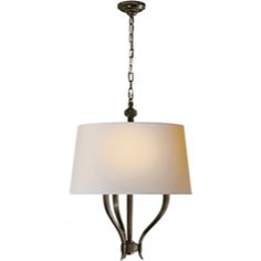 Visual Comfort E.F. Chapman Ruhlmann Pendant in Bronze with Natural Paper Shade CHC2463BZ-NP
