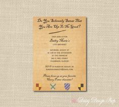 Birthday Party Invitations  Harry Potter by DaisyDesignShop, $24.00