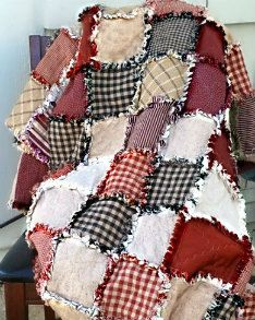 Rag Quilt - red, white, and blue I have actually made one of these. Get cheap blue jeans from garage sales.