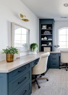 Cool Office Space, Office Nook, Guest Room Office, Study Office, Bedroom Office, Office In Small Space, Office With Two Desks, Office Desks For Home, Diy Office Desk