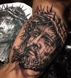 Jesus Tattoos - Tons of Jesus Tattoo Designs & Ideas - Tattoo Me Now Tattoos 3d, Feather Tattoos, Body Art Tattoos, Cool Tattoos, Portrait Tattoos, Jesus Tattoo On Arm, Jesus Tattoo Design, Jesus Tattoo Sleeve, Tattoo Sleeve Designs