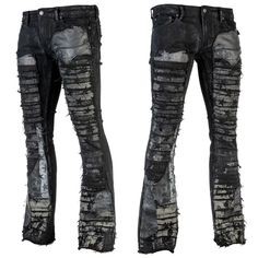 Mens rock clothing by Wornstar Clothing ready for street and stage. Original rock clothes by Wornstar Clothing from Chicago USA. Black Denim Pants, Rocker Chic, Rocker Style, Denim Patchwork, Wedding Suits, Stretch Denim, Mens Suits, Shirt Style, Cool Outfits