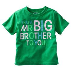 OshKosh Originals Graphic Tee Thats Mr. Big Brother to You. He loves being a big brother. This tee says it all. Big Brother Little Sister, Baby Sister, Baby Boy Tops, Oshkosh Baby, Toddler Boy Outfits, Kid Outfits, Baby Shirts, Onesies, Baby Time
