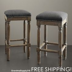 Rustic Bar Stools 2 Set Solid Wood Handcrafted Reclaimed Finish Upholstered New