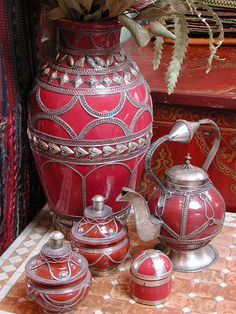 Moroccan Tea Set. I have always wanted to collect neat tea sets. This would be a must!