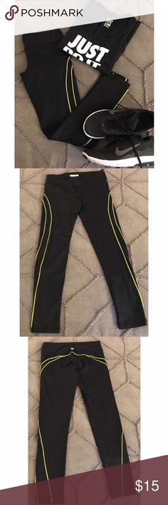 Forever 21 Active Leggings A pair of activewear leggings with neon yellow piping. Never worn! Please feel free to make me an offer or request a bundle! I'm cleaning out my closet so all reasonable offers are considered 😊  🎁 Please no trades or PayPal! 🎁 Forever 21 Pants Leggings