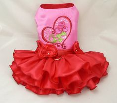 Small dog harness dress. Valentine Hearts 'n Roses. by poshdog, $56.00