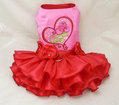 Small dog harness dress. Valentine Hearts 'n Roses. by poshdog, $56.00