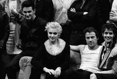 "Sean Penn, Madonna, Harvey Keitel, and Lorraine Bracco during the production of ""Goose and Tomtom."" Lincoln Center Theatre, 1986."