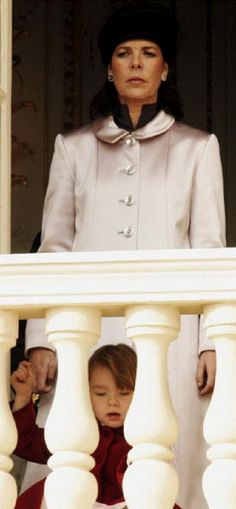 Princess Caroline with her daughter Princess Alexandra at the balcony during National Day Celebrations in 2004