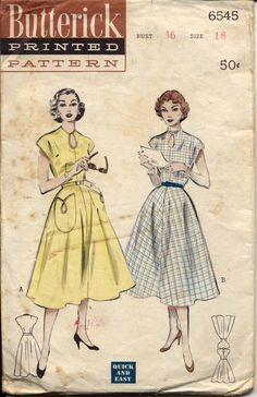 Butterick 6545 Misses 1950s Dress Pattern Keyhole Neckline Flared Skirt Cap Sleeve Big Pockets Womens Vintage Sewing Pattern Bust 36. $22.00, via Etsy.