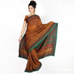 Saddle Brown saree with printed for $30